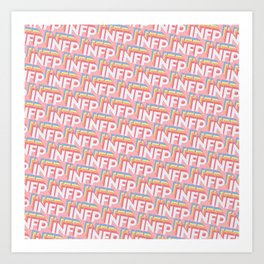 INFP Trendy Rainbow Text Pattern (Pink) Art Print