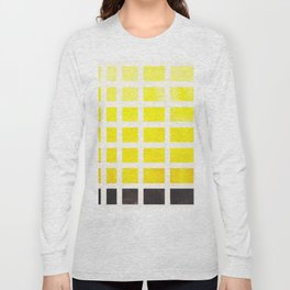 Yellow Minimalist Mid Century Grid Pattern Staggered Square Matrix Watercolor Painting Long Sleeve T-shirt