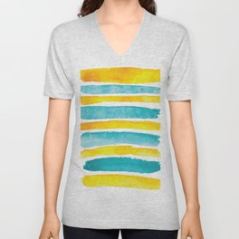 Watercolor yellow and turquoise stripes Unisex V-Neck