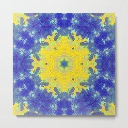 Abstract infinite yellow starburst snowflake flower design in a blue universe Metal Print