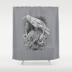 White Raven Shower Curtain