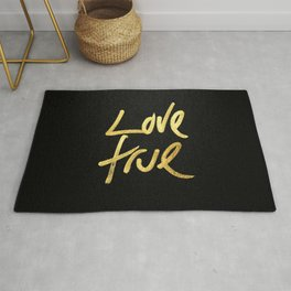 """Love True"" Typography in Faux Painted Gold Rug"