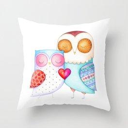 Love Birds - One Heart - Owl Couple Throw Pillow