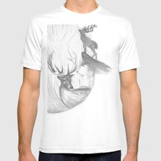Stag and man White MEDIUM Mens Fitted Tee
