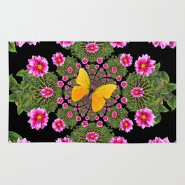 Yellow Butterfly Fuchsia Pink Dahlias Stylized Garden Black Pattern Rug