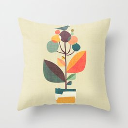 Potted plant with a bird Throw Pillow