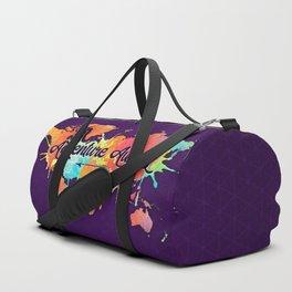 Adventure Awaits Quote Vivid Watercolor World Map Duffle Bag