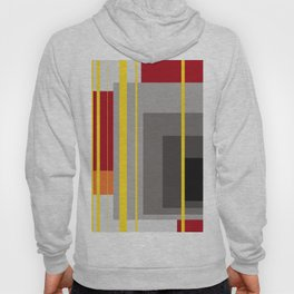 Stripes and squares in red - orange - grey - black Hoody