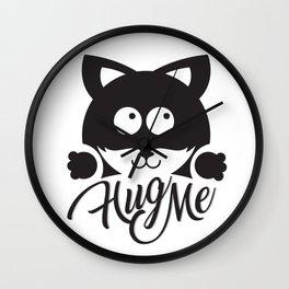 Hug me cute cat illustration Wall Clock