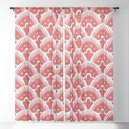 Fan Pattern Red 201 Sheer Curtain