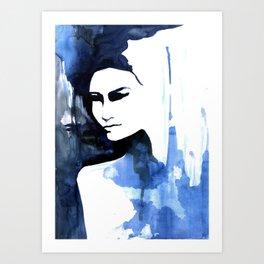 Blue portrait by Anna  Radis Art Print
