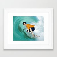 percy jackson Framed Art Prints featuring Percy Surfing by limevines