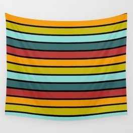 Multicolored Stripes: Rainbow Colors Wall Tapestry