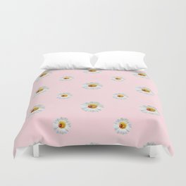 Flower Flowers Daisies in love- pink floral pattern Duvet Cover