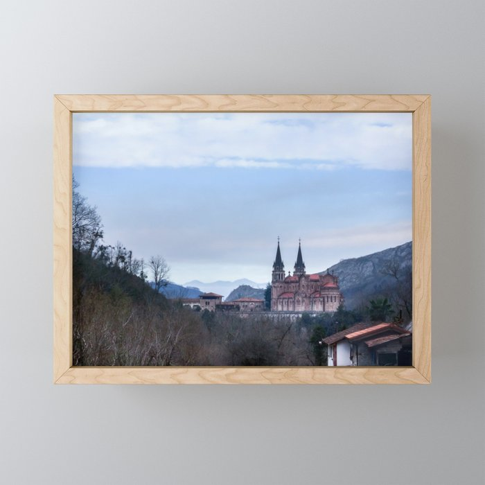 Basilica of Covadonga in the mountains, Spain Framed Mini Art Print