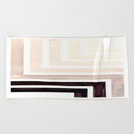 Grey Mid Century Modern Watercolor Colorful Ancient Aztec Art Pattern Minimalist Geometric Pattern Beach Towel