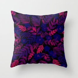 Neon Floral Print Throw Pillow