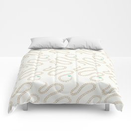 Cute snake in pink green and gold paint Comforters