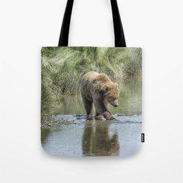 Brown Bear Cub Crossing a Stream Tote Bag
