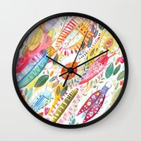 bugs Wall Clocks featuring Bugs by Mia Dunton