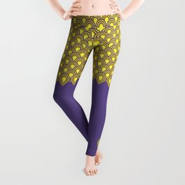 retro sixties inspired fan pattern in yellow and violet Leggings