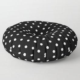 Licorice Black with White Polka Dots Floor Pillow