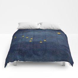Alaska State Flag, Vintage retro version Comforters