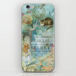Wonderland - Bonkers Quote - Vintage Style iPhone Skin