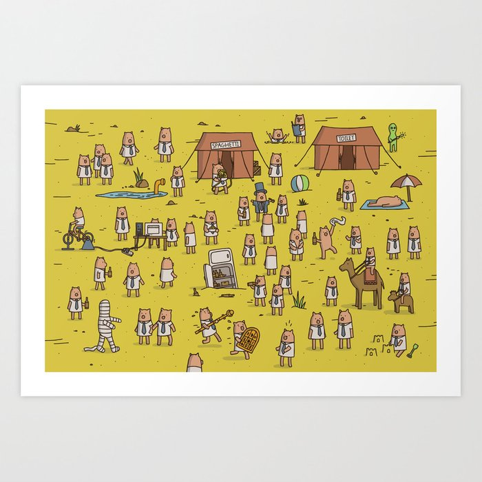 Business Pigs in the Desert Art Print