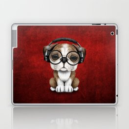 English Bulldog Puppy Dj Wearing Headphones and Glasses on Red Laptop & iPad Skin