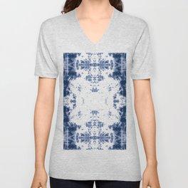 Shibori Tie Dye 5 Indigo Blue Unisex V-Neck