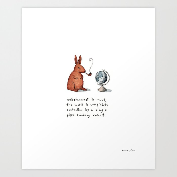 Pipe-smoking rabbit Art Print