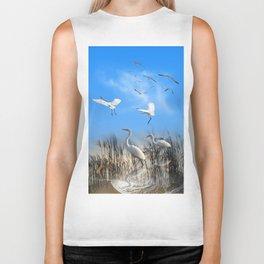 White Egrets in a Morning 1 Biker Tank