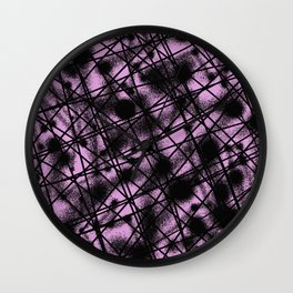Web Of Lies - Black and pink conceptual, abstract, minimalistic artwork Wall Clock