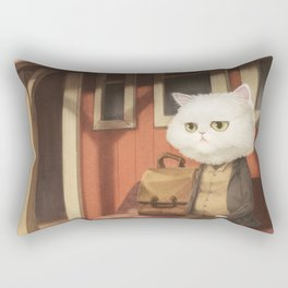 A cat waiting for someone Rectangular Pillow
