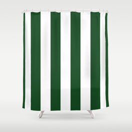 Jumbo Forest Green and White Rustic Vertical Cabana Stripes Shower Curtain