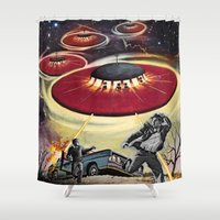 ufo Shower Curtains featuring UFO by Keka Delso