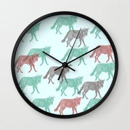 Green Fox, Red fox Wall Clock