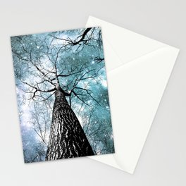 Wintry Trees Galaxy Skies Muted Ice Teal Stationery Cards