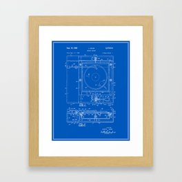 Record Player Patent - Blueprint Framed Art Print