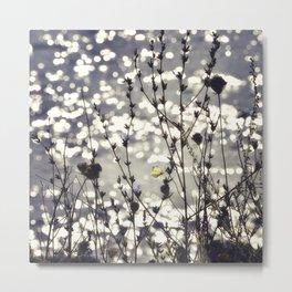 Sparkling Bokeh Tiny Butterfly Neutral Flowers Silhouette Beach Landscape Metal Print