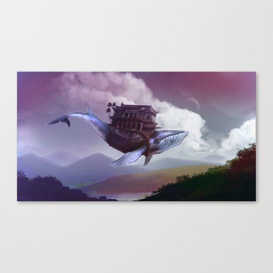 Floating whale Canvas Print