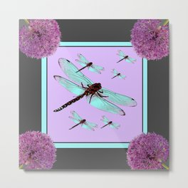 SPRING  BLUE DRAGONFLY FLIGHTS MODERN ART DESIGN Metal Print