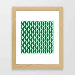 Green Ikat Petals Framed Art Print