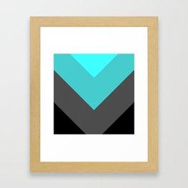 Aqua Gray Chevron Stripes Framed Art Print
