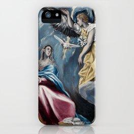 """El Greco (Domenikos Theotokopoulos) """"The Annunciation (1595-1600)"""" iPhone Case"""