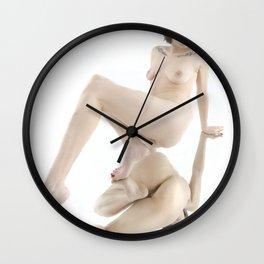 9371-KMA Woman on Mirror Fine Art Nude High Key Red Nails Wall Clock