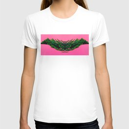 Flying green plant on pink T-shirt