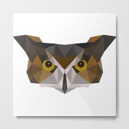 Owl head geometric polygon gift idea hipster Metal Print