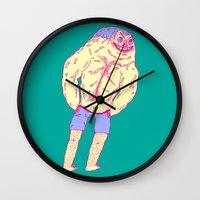 muscle Wall Clocks featuring Muscle Butt by Mike Bauer